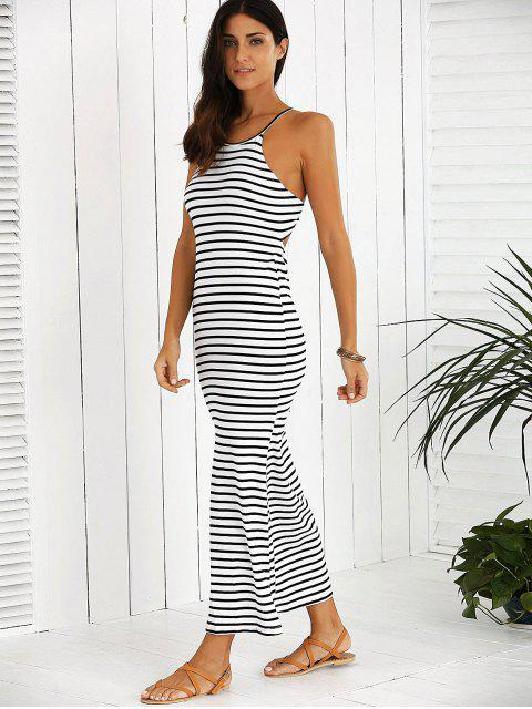 latest Halter Striped Maxi Dress - WHITE AND BLACK L Mobile