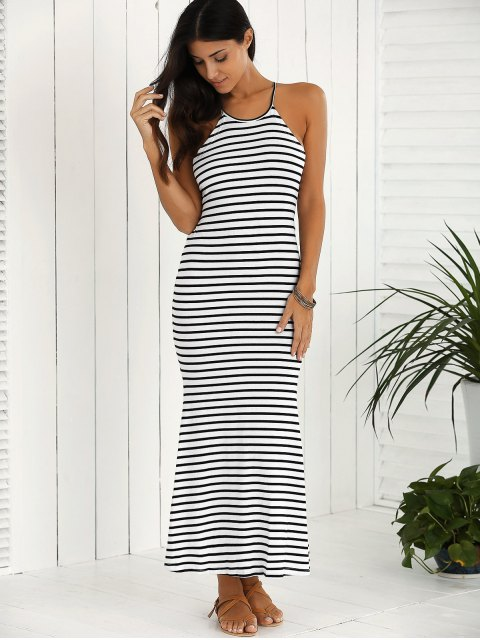 fashion Halter Striped Maxi Dress - WHITE AND BLACK S Mobile