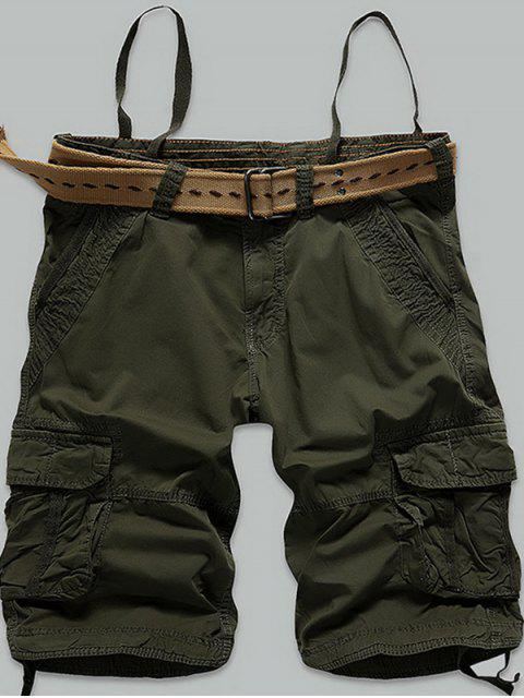 new Stitch Multi-Pocket Zipper Fly Cargo Shorts - ARMY GREEN 38 Mobile