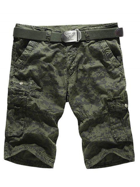Camo multi-bolsillo con cremallera pantalones cortos de Carga - Verde del ejército 36 Mobile