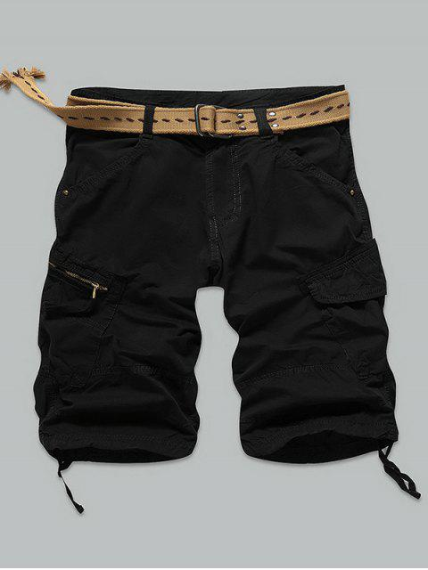 Pocket Rivet zippées genou Shorts cargo - Noir 36 Mobile