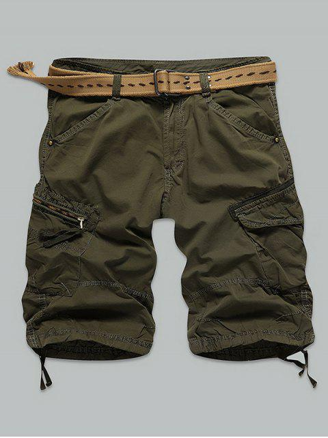 fashion Pocket Rivet Zippered Knee Length Cargo Shorts - ARMY GREEN 32 Mobile