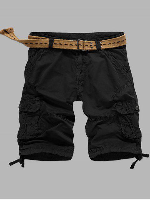 Multi-Tasche Reißverschluss Gerade Cargo-Shorts - Schwarz 38 Mobile