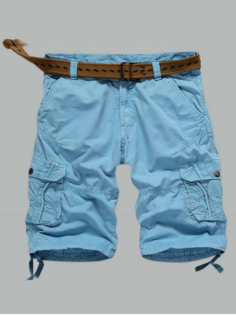 women Multi-Pocket Zipper Fly Straight Cargo Shorts - AZURE 36 Mobile