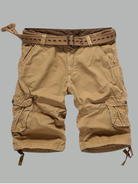 lady Multi-Pocket Zipper Fly Straight Cargo Shorts - EARTHY 36 Mobile