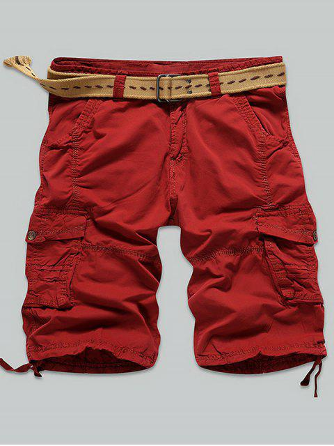 women's Multi Stitch Snap Button Pockets Zipper Fly Cargo Shorts - RED 31 Mobile
