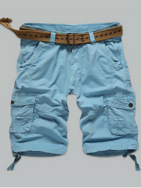 hot Multi Stitch Snap Button Pockets Zipper Fly Cargo Shorts -   Mobile