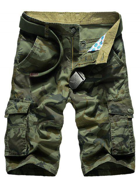 shop Camo Multi-Pocket Straight Leg Cargo Shorts - ARMY GREEN 29 Mobile