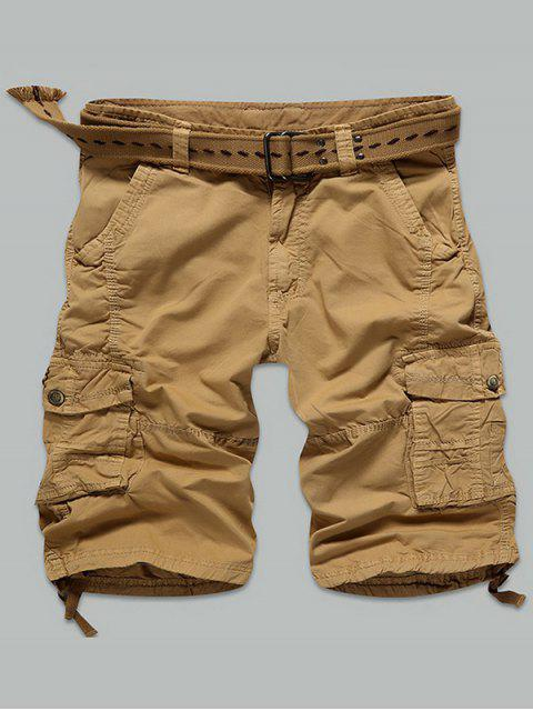 outfits Multi Stitch Snap Button Pockets Zipper Fly Cargo Shorts - EARTHY 38 Mobile