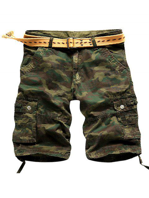 affordable Camo Multi Stitch Snap Button Pockets Zipper Fly Cargo Shorts - ARMY GREEN 30 Mobile