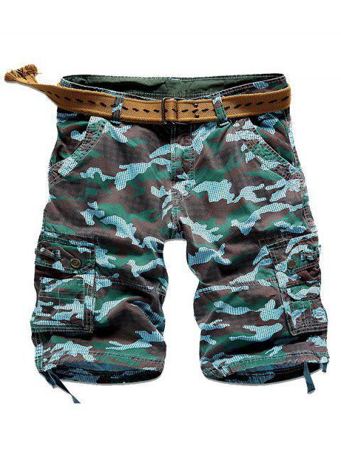 Camo multiples surpiqûres Snap bouton poches Shorts Zipper Fly Cargo - Azur 32 Mobile