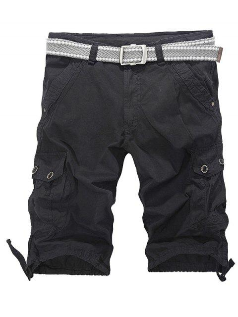 online Loose-Fitting Zipper Fly Drawstring Hem Cargo Shorts - BLACK 36 Mobile