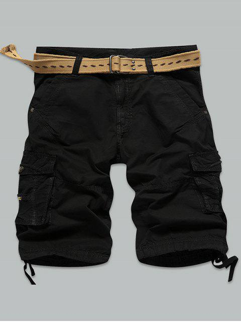 outfits Straight Muti-Pocket Zipper Fly Cargo Shorts - BLACK 32 Mobile