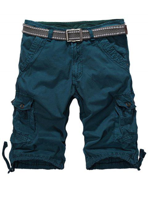 ladies Loose-Fitting Zipper Fly Drawstring Hem Cargo Shorts - BLACKISH GREEN 32 Mobile