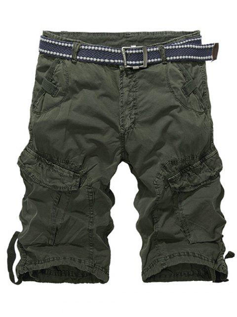 outfit Knee Length Multi-Pocket Zipper Fly Cargo Shorts - ARMY GREEN 32 Mobile