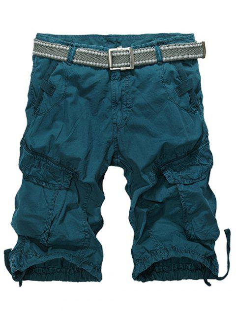 shops Knee Length Multi-Pocket Zipper Fly Cargo Shorts - BLACKISH GREEN 34 Mobile