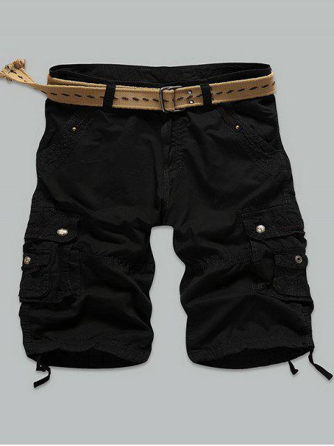 latest Rivet Embellished Muti Stitch Zipper Fly Cargo Shorts - BLACK 38 Mobile