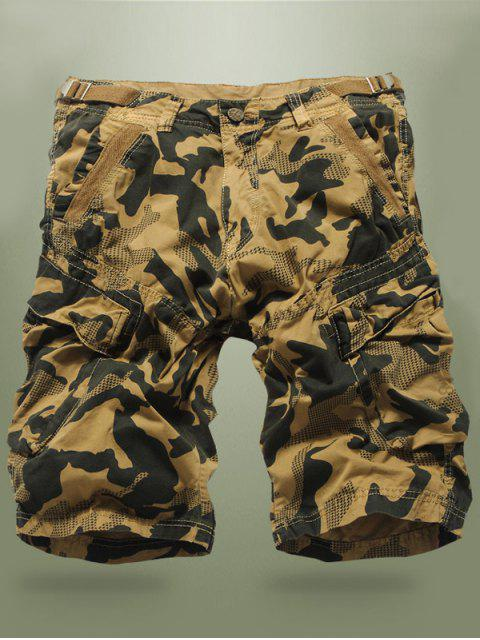 Buckled Multi-Pocket Camo Cargo Shorts - Kaki 34 Mobile