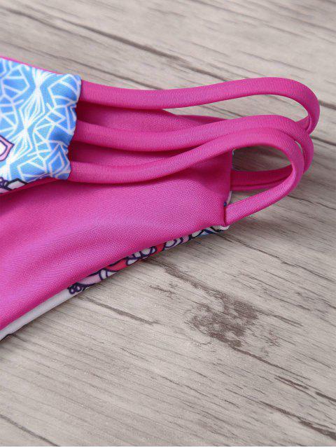 fancy Cutout Print Strappy Bikini Set - ROSE RED S Mobile
