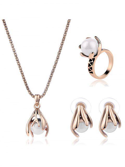 Artificial conjunto de joyería de perlas de la boda floral - Dorado Uno de tamaño Mobile