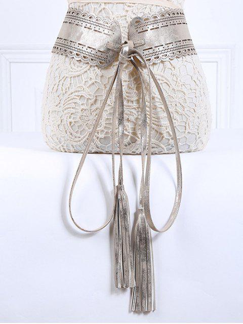 women Long Tassel Pendant Lace-Up PU Belt - SILVER  Mobile