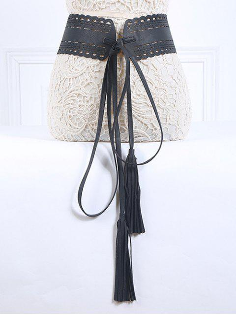 women's Long Tassel Pendant Lace-Up PU Belt - BLACK  Mobile