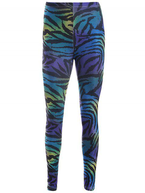 chic Zebra Stripe Print Leggings - PURPLE ONE SIZE Mobile