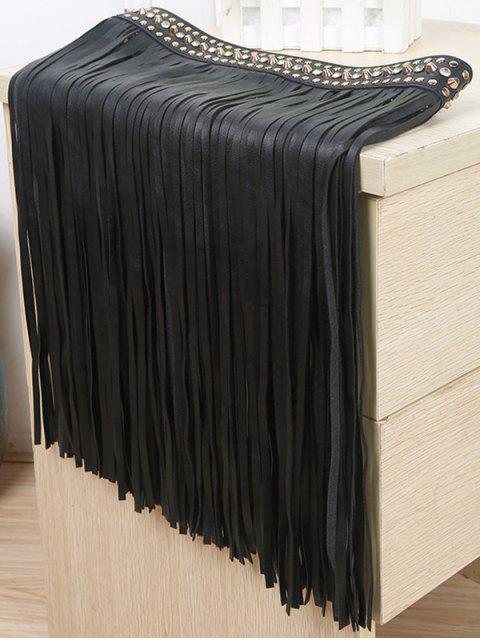 online Rivet Long Tassel Skirt PU Belt - BLACK  Mobile