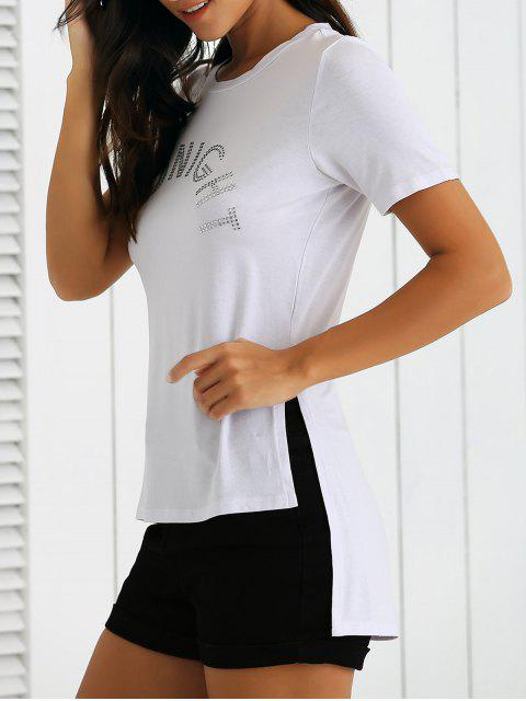 lady Side Slit Letter High Low T-Shirt - WHITE L Mobile