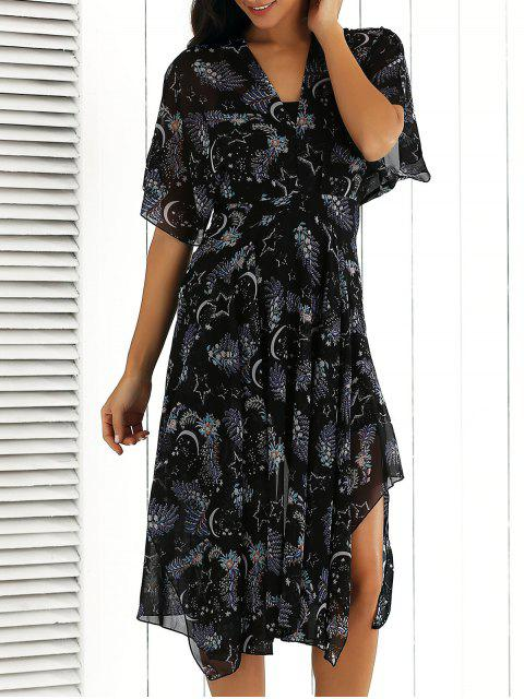 V-Ausschnitt gedruckt Chiffon Midi-Kleid - Blumen S Mobile