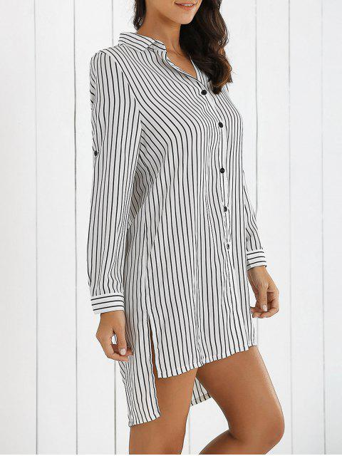 latest Boyfriend Striped Shirt Dress - WHITE S Mobile