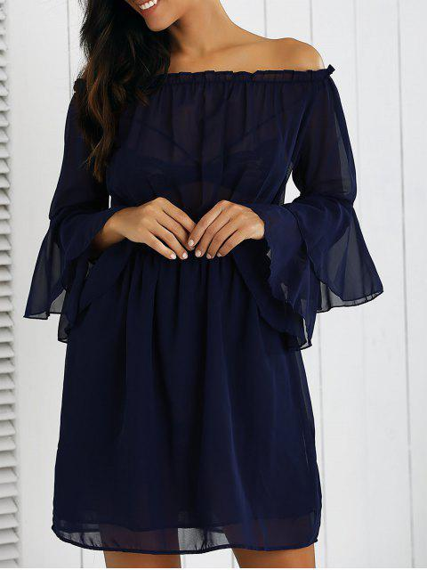 best Off Shoulder Bell Sleeve Chiffon Dress - DEEP BLUE L Mobile