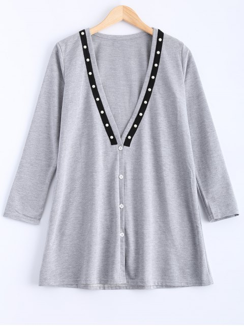 unique Plunging Neck Button Down Beaded Cardigan - GRAY M Mobile