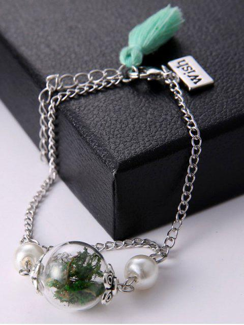 trendy Glass Dry Plant Faux Pearl Tassel Bracelet - GREEN  Mobile