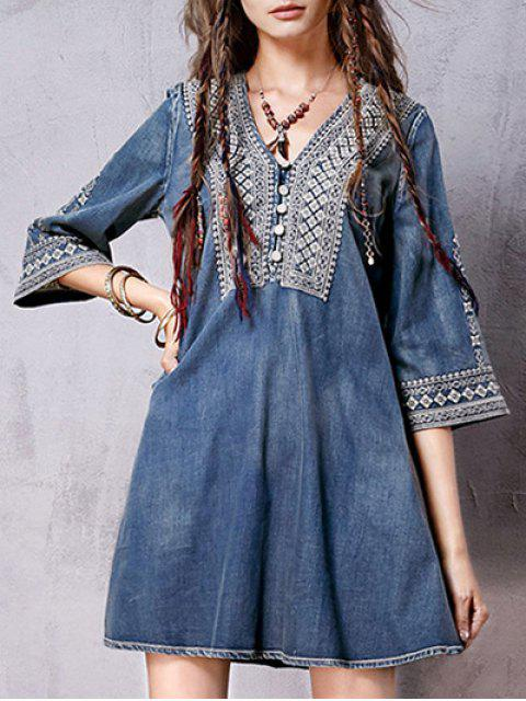 hot Denim Flared Bib Dress - BLUE L Mobile