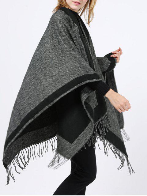 Chevrons Tassel Wrap Pashmina - Noir  Mobile