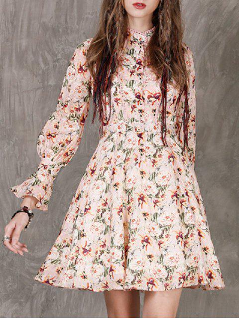 best Long Sleeves Floral Dress - FLORAL L Mobile