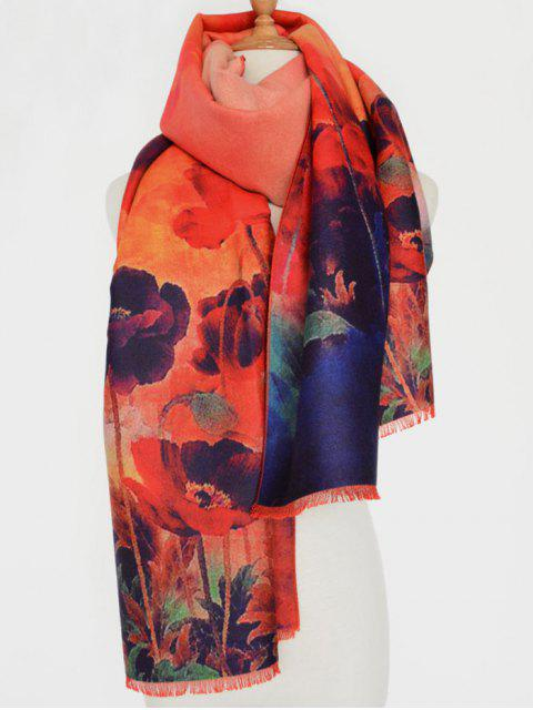 fancy Flower Painting Fringed Scarf - ORANGE RED  Mobile