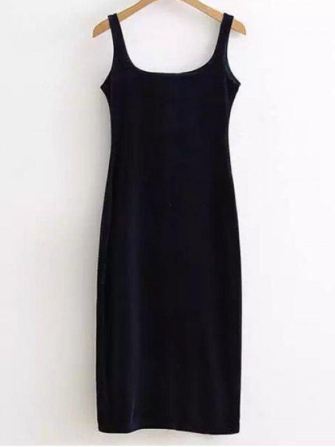 hot Back Slit Velvet Tank Dress - PURPLISH BLUE ONE SIZE Mobile