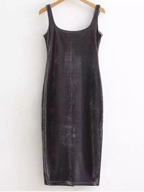 new Back Slit Velvet Tank Dress - DEEP GRAY ONE SIZE Mobile