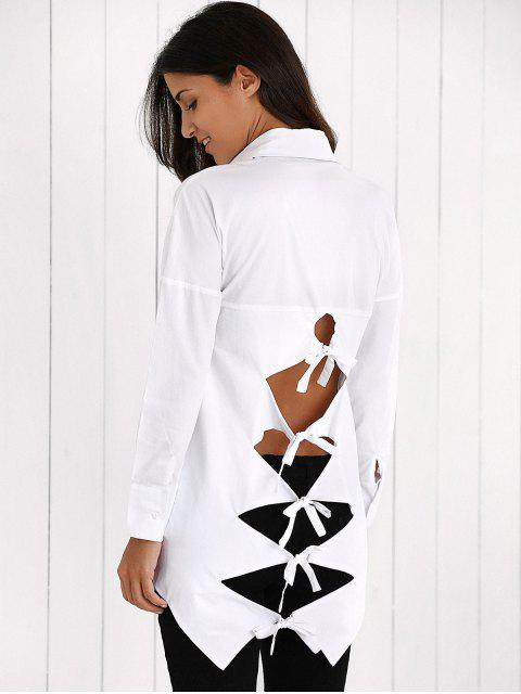 hot Lace Up Weaving Cut Shirt - WHITE L Mobile