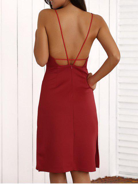 Überlagertes Midi Kleid mit Riemen und Schlitz - Rot L Mobile