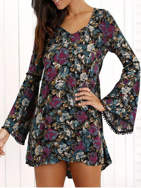 Manches cloche robe en dentelle florale Retour - Multicolore M Mobile