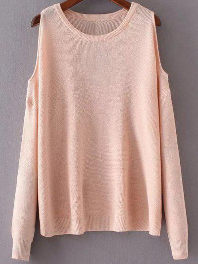 e6181b81ce7ca0 Loose Cold Shoulder Knitwear - Pink
