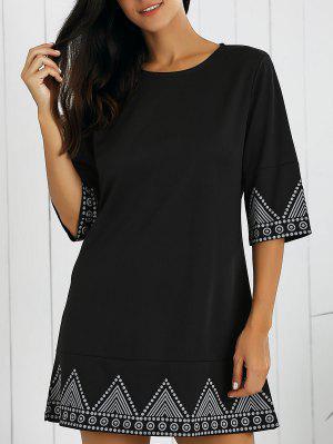 Mini Vestido Con Cuello Redondo Con Estampado - Negro Xl
