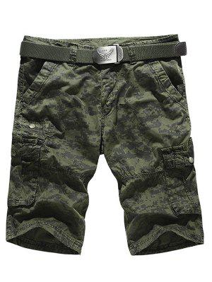 Camo Multi-Pocket Zipper Fly Cargo Shorts