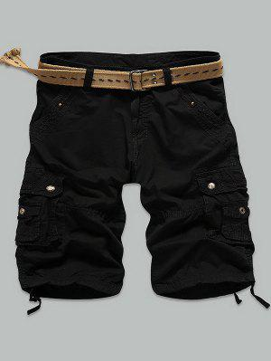 Rivet Embellished Muti Stitch Zipper Fly Cargo Shorts