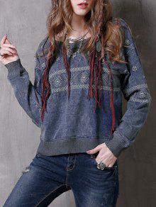 Denim Embroidered Sweatshirt - Blue