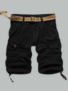 جيب برشام انغلق الركبة طول السراويل البضائع - أسود 34