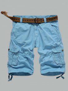 Multi-bolso Zipper Shorts Reta De Carga - Azul-celeste 36